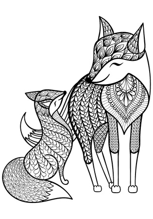 Hand drawn Fox with young child pattern for adult coloring page A4 size in doodle, zentangle style, ethnic ornamental patterned print, monochrome sketch. Floral printable vector illustration. Vettoriali