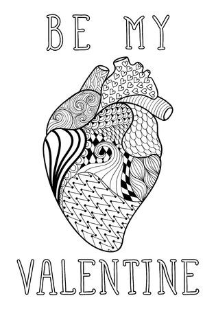 human heart: dibujado a mano del corazón humano modelado para colorear página tamaño A4 en adultos garabato, el estilo del zentangle, modelado La impresión ornamental étnico Se mi San Valentín, dibujo blanco y negro. ilustración vectorial de impresión floral. Vectores