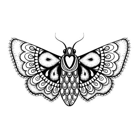 Hand drawn artistically black Butterfly, cute ornamental patterned flying Moth in zentangle style for tattoo, t-shirt, adult anti stress coloring pages. Vector monochrome illustration.
