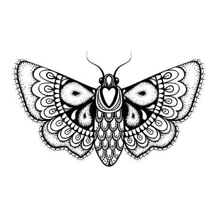 Hand getrokken artistiek zwarte vlinder, leuke sier patroon vliegen Mot in zentanglestijl voor tattoo, t-shirt, volwassen antistress kleurplaten. Vector zwart-wit illustratie.