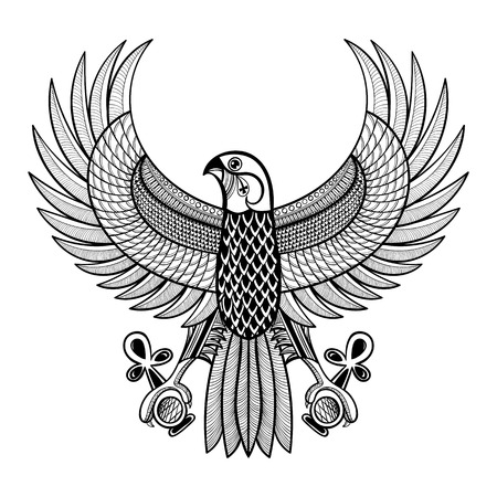 Hand drawn artistically Egypt Horus Falcon, patterned Ra-bird in zentangle style. Wisdom symbol of Athena for tattoo, t-shirt, adult coloring pages. Ancient Egyptian vector illustration of Ankh.  イラスト・ベクター素材