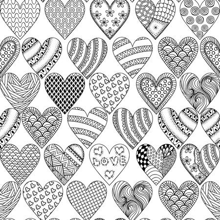 dibujos para colorear: Dibujado a mano corazón ornamental con amor en garabato, estilo tribal zentangle, patrón transparente para colorear para adultos, la tarjeta para el día de San Valentín. Elementos de decoración del vector para el diseño de la postal.