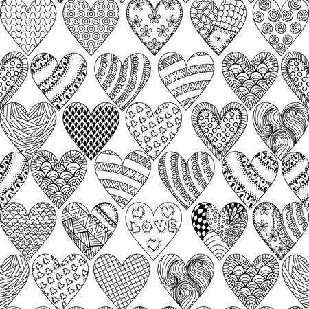 Hand drawn ornamental heart with love in doodle, zentangle tribal style, seamless pattern for adult coloring pages, card for St. Valentine's day. Vector decoration elements for postcard design.