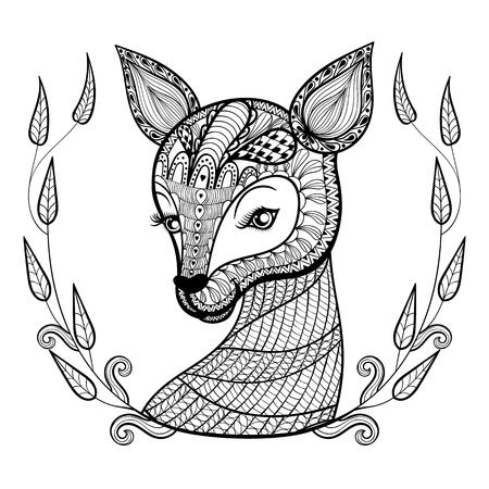 동물: 손으로 그린 민족 장식은 성인 색칠 페이지, 예술 문신, t 셔츠 인쇄 낙서에 꽃 복고 프레임, zentangle 부족의 스타일에 귀여운 사슴의 얼굴 무늬. 벡터 동물 그림.