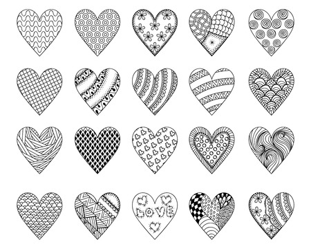 Hand drawn ethnic patterned hearts for St. Valentine's day in doodle, zentangle style for adult coloring pages, tattoo, t-shirt or prints. Decoration elements for postcard. Vector illustration.