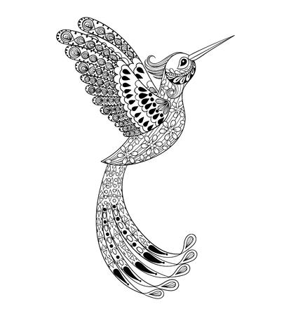 Zentangle dibujado a mano artísticamente colibrí, el pájaro de vuelo tótem tribal para el adulto Página para colorear o un tatuaje, camiseta y postal con alto nivel de detalle ilustración. Vectorial blanco y negro dibujo de aves exóticas.