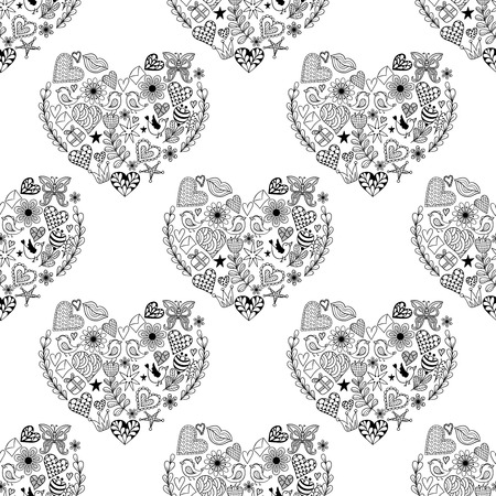Hand Drawn Artistically Ethnic Ornamental Seamless Black Pattern With Heart And Romantic Doodle Elements Of St