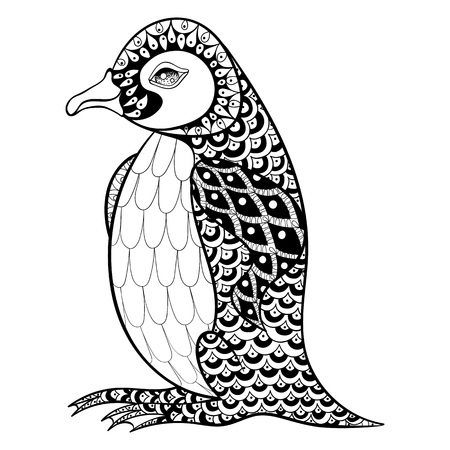 black background abstract: Hand drawn artistically King Penguin, zentangle illustartion for adult anti stress Coloring pages or tattoos with high details isolated on black background. Vector monochrome bird sketch.
