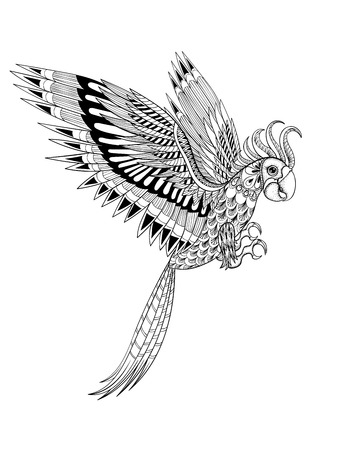 Hand drawn artistically ornamental tribal Parrot, bird totem for adult anti stress Coloring Page in zentangle style , illustration with high details isolated on white background. Vector sketch A4 size. Vettoriali
