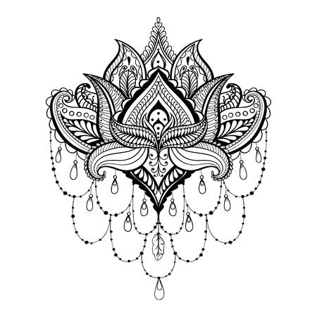 Vector ornamental Lotus, étnica tatuaje de henna zentangled, Paisley india con dibujos de las páginas para adultos anti estrés colorear. Dibujado a mano ilustración en el estilo de dibujo. Ilustración de vector