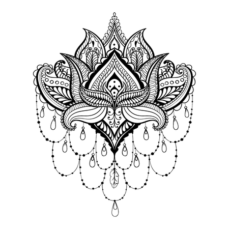 Vector ornamental Lotus, ethnic zentangled henna tattoo, patterned Indian paisley for adult anti stress coloring pages.  Hand drawn illustration in doodle style.