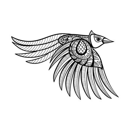 pajaros volando: Vector de aves ornamentales vuelo, mascota zentangled �tnica, amuleto, m�scara de p�jaro, animal con dibujos de las p�ginas para adultos anti estr�s colorear. Dibujado a mano ilustraci�n t�tem aislado en el fondo.