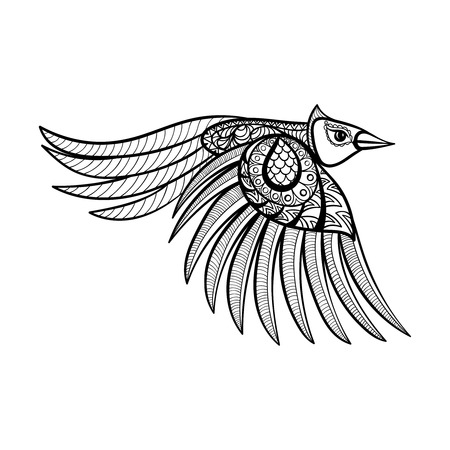 flying bird: Vector ornamental flying bird, ethnic zentangled mascot, amulet, mask of bird,  patterned animal for adult anti stress coloring pages. Hand drawn totem illustration isolated on background.