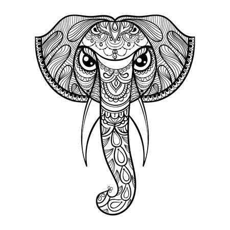indian tattoo: Vector ornamental head of Elephant, ethnic zentangled mascot, amulet, henna tattoo.  Patterned animal for adult anti stress coloring pages. Hand drawn totem illustration isolated on background.