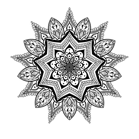 anti stress: Vector ornamental Lotus mandala, ethnic zentangled henna tattoo, patterned Indian paisley for adult anti stress coloring pages.  Hand drawn illustration in doodle style.