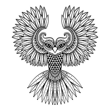 Vector búho ornamental, la mascota zentangled étnica, amuleto, máscara de pájaro, animal con dibujos de las páginas para adultos anti estrés colorear. Dibujado a mano ilustración tótem aislado en el fondo.
