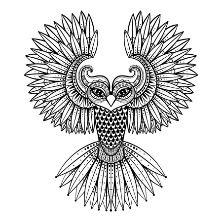 old page: Vector ornamental Owl, ethnic zentangled mascot, amulet, mask of bird,  patterned animal for adult anti stress coloring pages. Hand drawn totem illustration isolated on background.