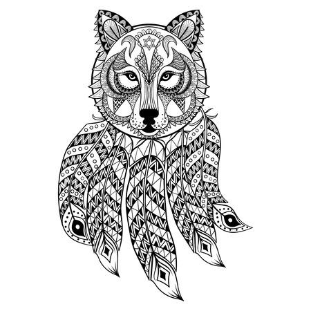 Vector ornamental de lobo con atrapasueños, la mascota zentangled étnica, amuleto, máscara de hombre lobo, animal con dibujos de las páginas para adultos anti estrés colorear. Dibujado a mano ilustración tótem aislado en el fondo.