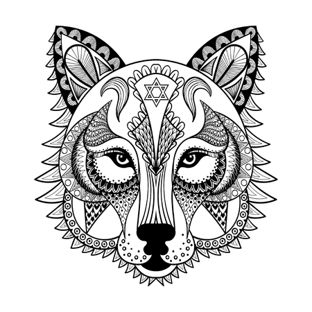 adult tattoo: Vector ornamental Wolf, ethnic zentangled mascot, amulet, mask of a werewolf,  patterned animal for adult anti stress coloring pages. Hand drawn totem illustration isolated on background.