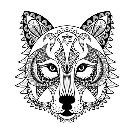 wilkołak: Wektor ozdobnych Wilk, etnicznej zentangled maskotka, Amulet, maska wilkołaka, wzorzyste zwierząt dla dorosłych anti stress kolorowanki. Ręcznie rysowane totem ilustracji samodzielnie na tle.