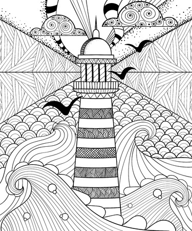 Hand drawn artistically ethnic ornamental patterned Lighthouse with clouds in doodle, zentangle tribal style for adult coloring book, pages, tattoo, t-shirt or prints. Sea vector illustration. Vettoriali