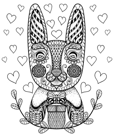 Hand Drawn Easter Rabbit With Gift And Hearts In Doodle Patterned Bunny Zentangle Tribal
