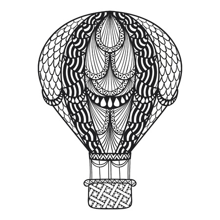 Hot Air Balloons Flying In Summer Time For Adult Coloring Book