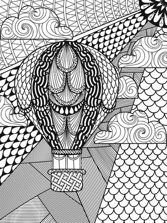 old page: Hand drawn artistically ethnic ornamental patterned air balloon in clouds in doodle, zentangle tribal style for adult coloring book, pages, tattoo, t-shirt or prints. Vector illustration A4 size. Illustration