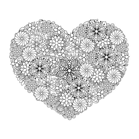 Hand drawn artistic ethnic ornamental patterned Big heart in doodle, zentangle tribal style for adult coloring book, pages, tattoo, t-shirt or prints. Vector illustration Vectores