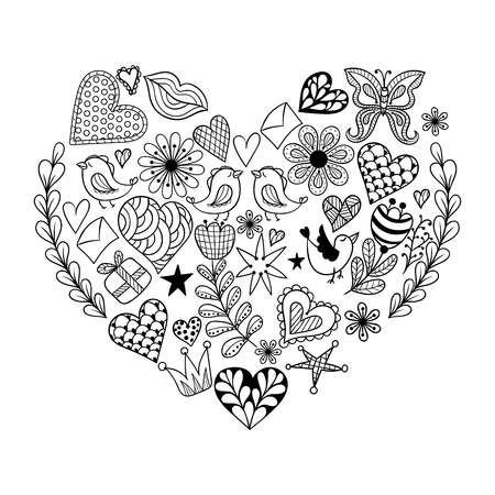 Hand drawn artistically ethnic ornamental patterned heart with romantic doodle elements of St. Valentines day, zentangle vector illustration for adult coloring book, pages, tattoo, t-shirt or prints. Illustration