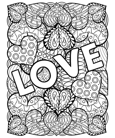 adults: Hand drawn St. Valentines day artistically ornamental patterned hearts with love in doodle, zentangle tribal style for adult coloring pages, tattoo, t-shirt or prints. Vector illustration A4 size.