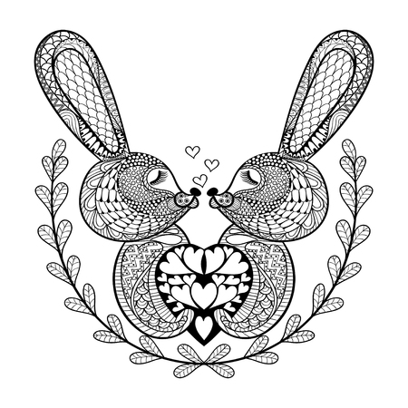anti stress: Hand drawn lovely rabbit for St. Valentines day in doodle, zentangle style for adult coloring pages, artistically ethnic tattoo, ornamental t-shirt or patterned prints. Vector illustration. Illustration