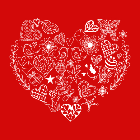 Hand Drawn Ethnic Ornamental Patterned Red Heart With Romantic Doodle Elements Of St Valentines Day