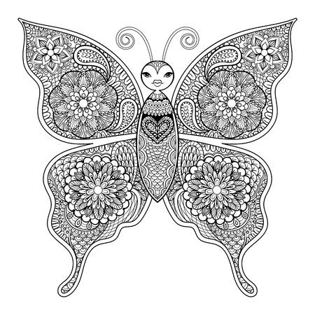 dibujos para colorear: Mariposa del vector zentangle para colorear páginas de estrés contra adultos en el estilo de dibujo. Ornamental ilustración patrón tribal de tatuaje, cartel o impresión. Dibujado a mano dibujo blanco y negro. Colección del insecto. Vectores