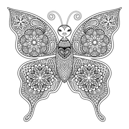 Zentangle vector Butterfly for adult anti stress coloring pages in doodle style. Ornamental tribal patterned illustration for tattoo, poster or print. Hand drawn monochrome sketch. Insect collection.