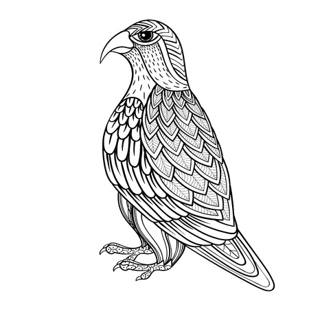 black and white image drawing: Zentangle vector Falcon, bird hawk of prey, predatory for adult anti stress coloring pages. Ornamental tribal patterned illustration for tattoo, poster or print. Hand drawn monochrome sketch. Bird collection.