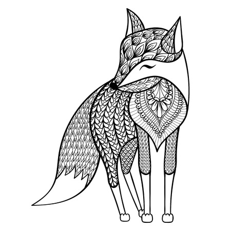 Zentangle vector happy Fox for adult anti stress coloring pages. Ornamental tribal patterned illustration for tattoo, poster or print. Hand drawn monochrome sketch isolated on white background. Animal collection.