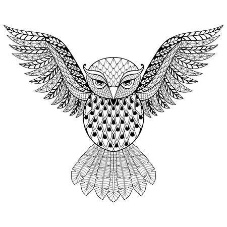 dibujos para colorear: Búho del vector del zentangle de páginas para colorear adulto Anti estrés. Ornamental illustratian patrón tribal de tatuaje, cartel o impresión. Dibujado a mano dibujo blanco y negro. Pájaro, recogida de animales.