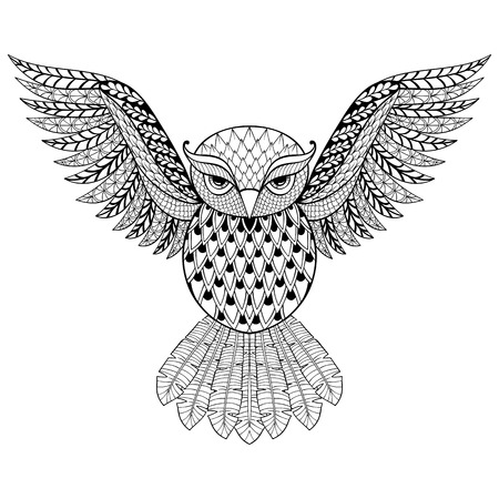 Zentangle vector Owl for adult anti stress coloring pages. Ornamental tribal patterned illustratian for tattoo, poster or print. Hand drawn monochrome sketch. Bird, animal collection.