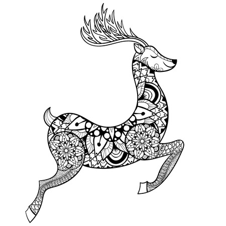 reindeer silhouette: Zentangle vector Reindeer for adult anti stress coloring pages. Ornamental tribal patterned Christmas Deer illustratian for tattoo, poster or print. Hand drawn monochrome sketch. Animal collection.