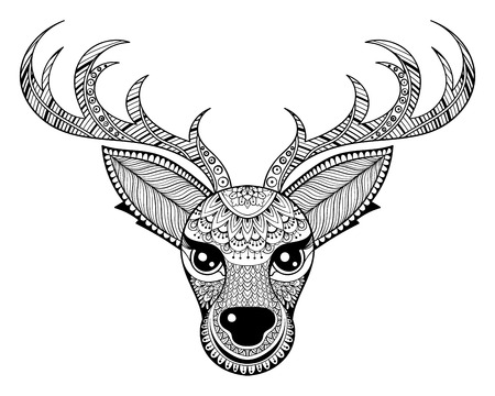 christmas tattoo: Zentangle vector Reindeer for adult anti stress coloring pages. Ornamental tribal patterned Christmas Deer head illustration for tattoo, poster or print. Hand drawn monochrome sketch. Animal collection. Illustration