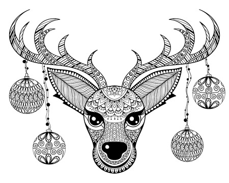 Zentangle vector Reindeer face with chriatmas decoration balls for adult anti stress coloring pages in doodle hand drawn style. Ornamental tribal patterned illustration. Animal collection.