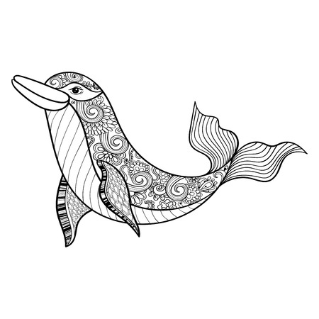 dolphins: Zentangle vector sea Dolphin for adult anti stress coloring pages. Ornamental tribal patterned illustratian for tattoo, poster or print. Hand drawn monochrome sketch. Sea animal collection.