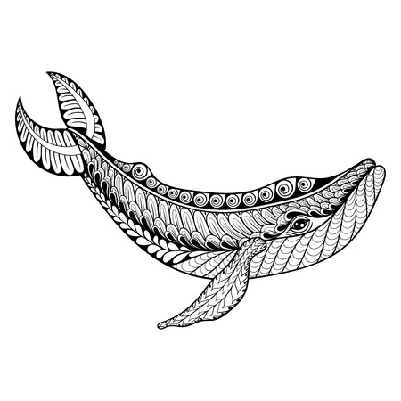 whale underwater: Zentangle vector Whale for adult anti stress coloring pages. Ornamental tribal patterned illustratian for tattoo, poster or print. Hand drawn monochrome sketch. Sea animal collection.