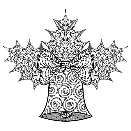 Coloring pages with Christmas decorative Bell and mistletoe, zentangle patterned illustration for adult anti stress Coloring books, tattoos, New Year posters, vector sketch isolated on black background.