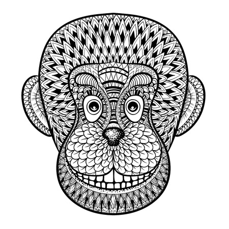 Coloring pages with head of Monkey, Gorilla, zentangle illustration for adult anti stress Coloring books or tattoo design with high details isolated on white background. Vector animal sketch. Illustration