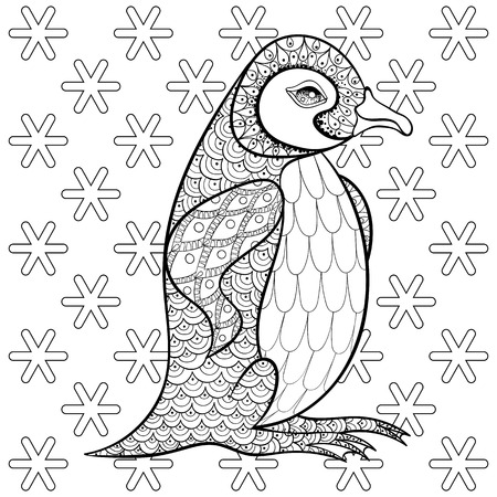 Coloring Pages With King Penguin Among Snowflakes Zentangle Illustartion For Adult Anti Stress Books