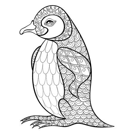 Dibujos para colorear con Pingüino Rey, illustartion zentangle para adultos contra el estrés libros para colorear o tatuajes con detalles altos aislados sobre fondo negro. Vector dibujo blanco y negro de aves.