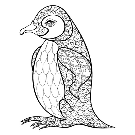 Coloring pages with King Penguin, zentangle illustartion for adult anti stress Coloring books or tattoos with high details isolated on black background. Vector monochrome bird sketch.