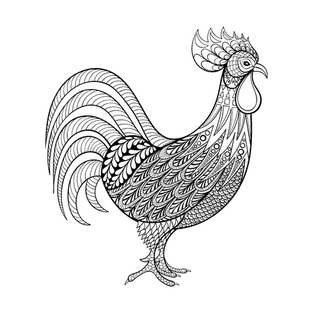 page: Rooster, Chicken, domestic farmer Bird for Coloring pages, zentangle illustartion for adult anti stress Coloring books or tattoos with high details isolated on black background. Vector monochrome bird sketch. Illustration